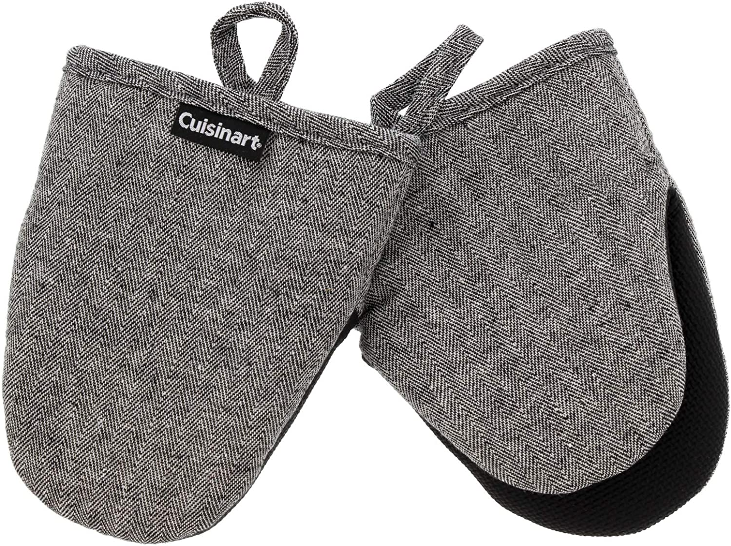 Cuisinart Oven Mitts, 2pk - Heat Resistant Oven Gloves to Protect Hands and Surfaces with Non-Slip Grip and Hanging Loop - Ideal Set for Handling Hot Cookware, Bakeware – Chevron, Black