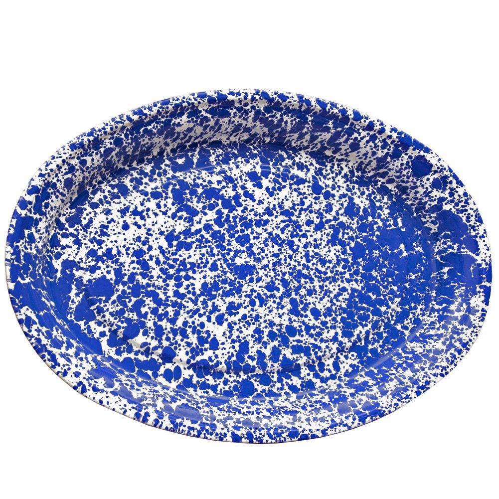 Enamelware Oval Serving Platter, Blue Marble CGS International D61DBM