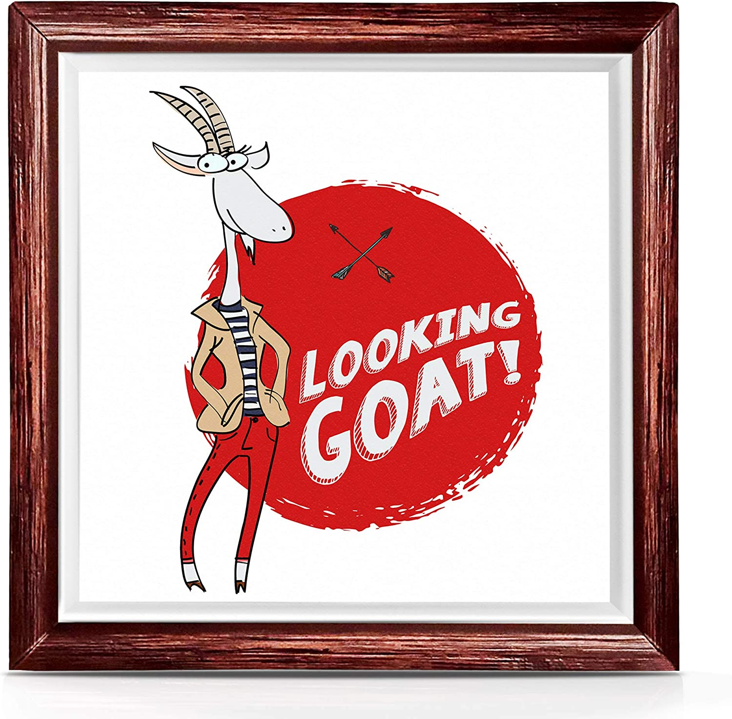 Goat Gifts for Goat Lovers | Unique Goat Decorations for Outdoors Or Indoors | Goat Gift for Women and Men | Goat Kitchen Accessories | 7x7 Ceramic Goat Decor Artwork | Cute Goat Gifts