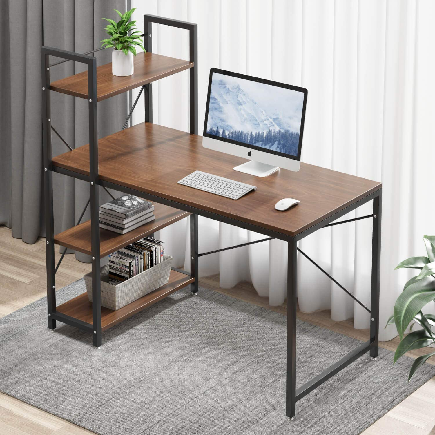 Tower Computer Desk with 8 Tire Shelves - 87.8 inch Writing Study Table  with Bookshelves Study Desk Modern Steel Frame Compact Wood Desk Home  Office