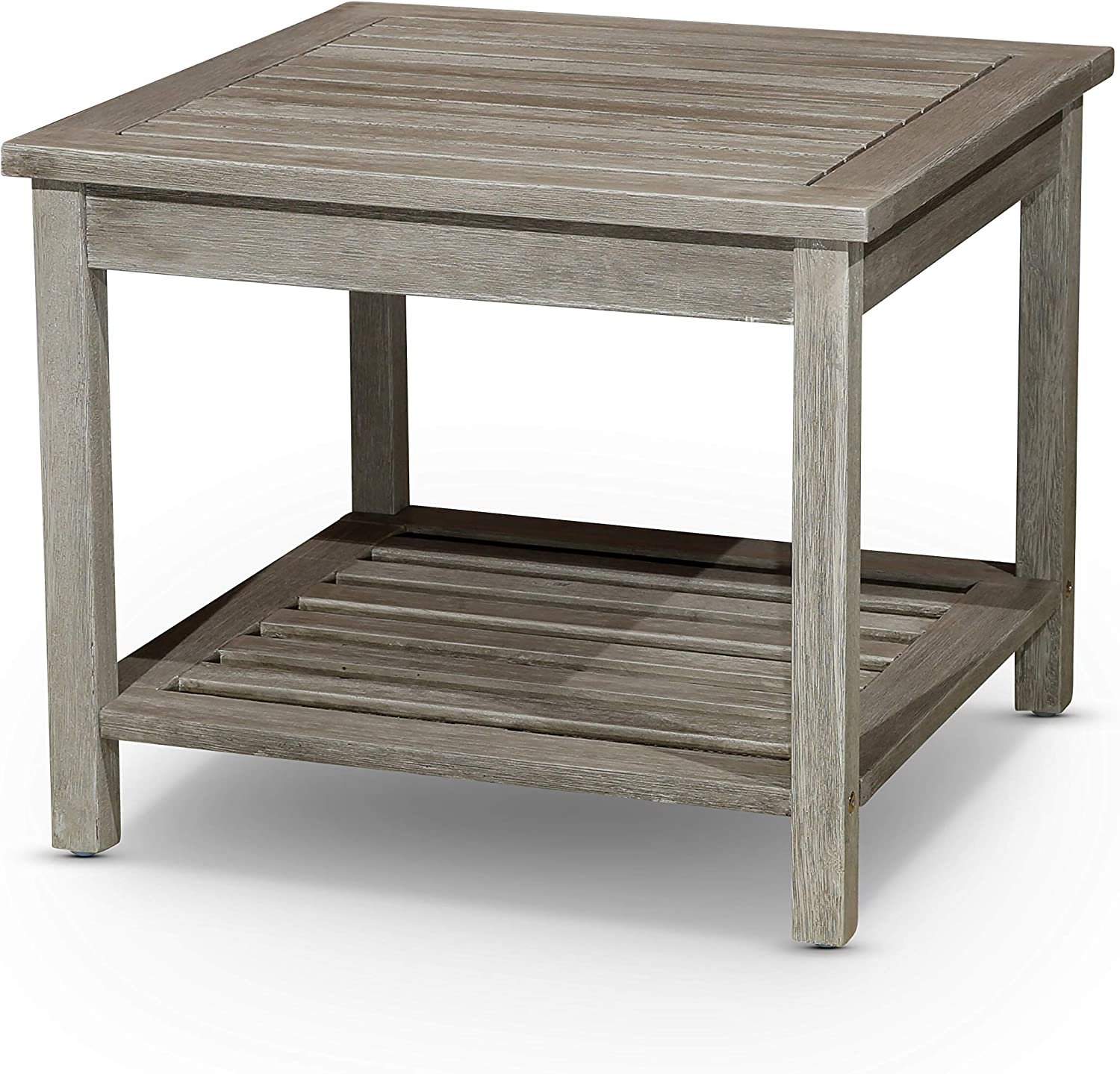 DTY Outdoor Living Longs Peak Eucalyptus Two Shelf Side Table -Driftwood Gray