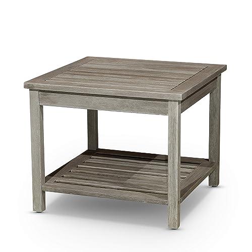 DTY Outdoor Living Longs Peak Eucalyptus Two Shelf Side Table -Driftwood Gray