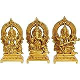 "Aone India Goddess Laxmi Ganesha Saraswati Idol - Lakshmi Ganesh Murti (7"" Height X 4"" Width)"