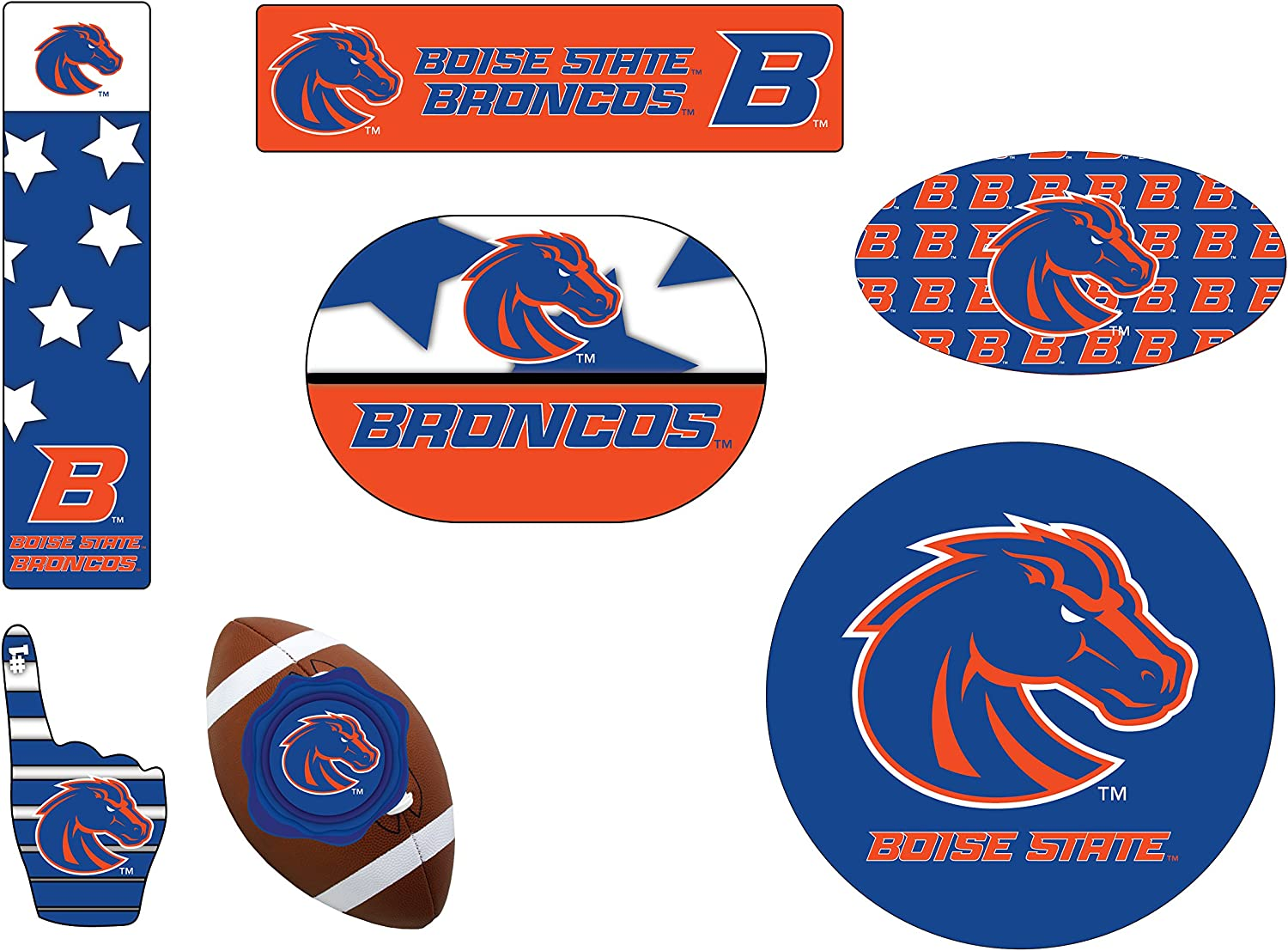 Boise State Broncos 6 Piece Tailgate Magnet Set and Mascot Magnet