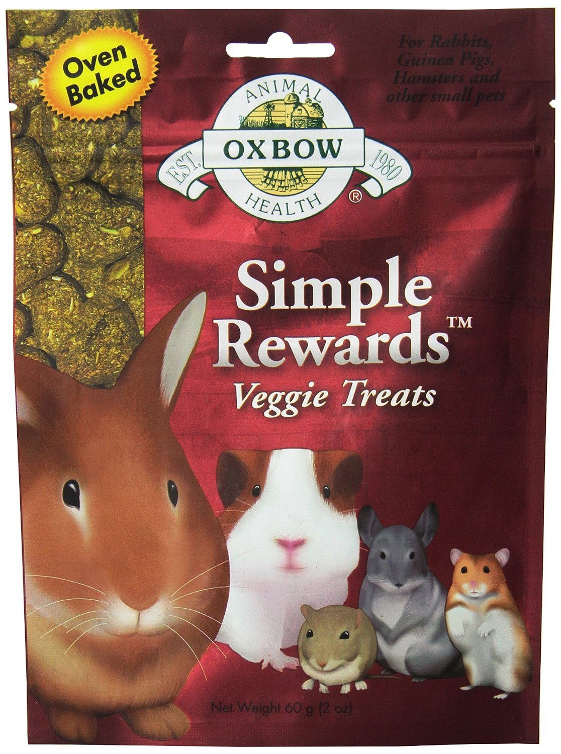 Oxbow Animal Health Simple Rewards Veggie Treat for Pets, 2.0-Ounce (Pack of 2)