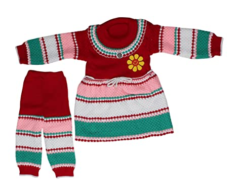e8de6a150 BlackCoal Girls Winter Wear Woolen Suit Baby Kids Top   Bottom Set ...