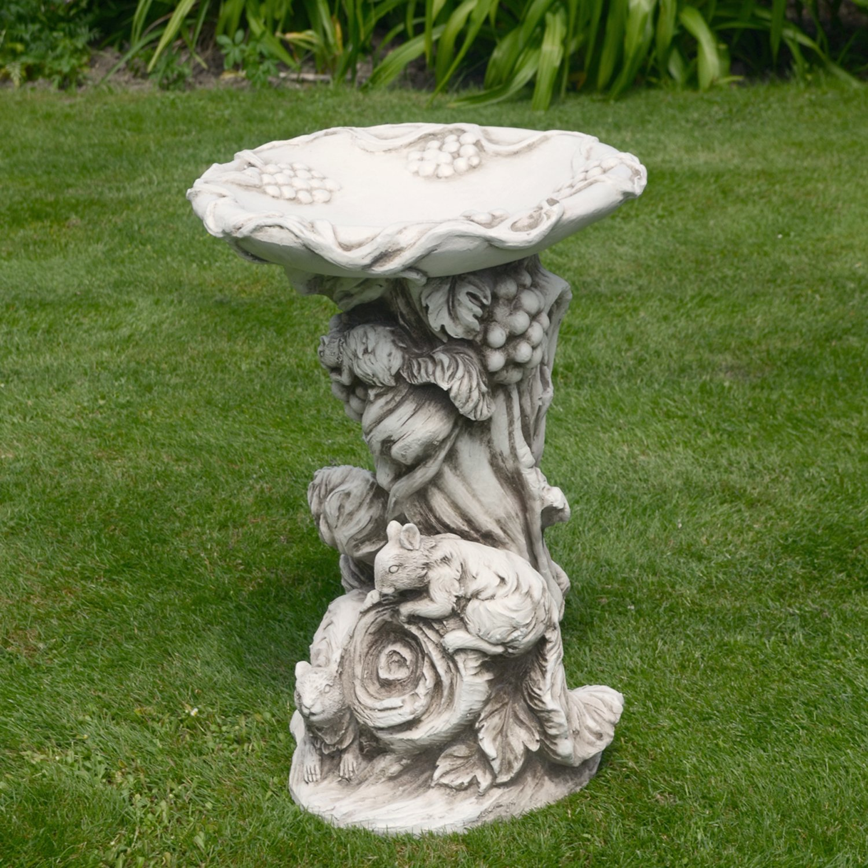 40x41x58 cm Solstice Sculptures WOODLAND Bird Bath Antique Stone Effect
