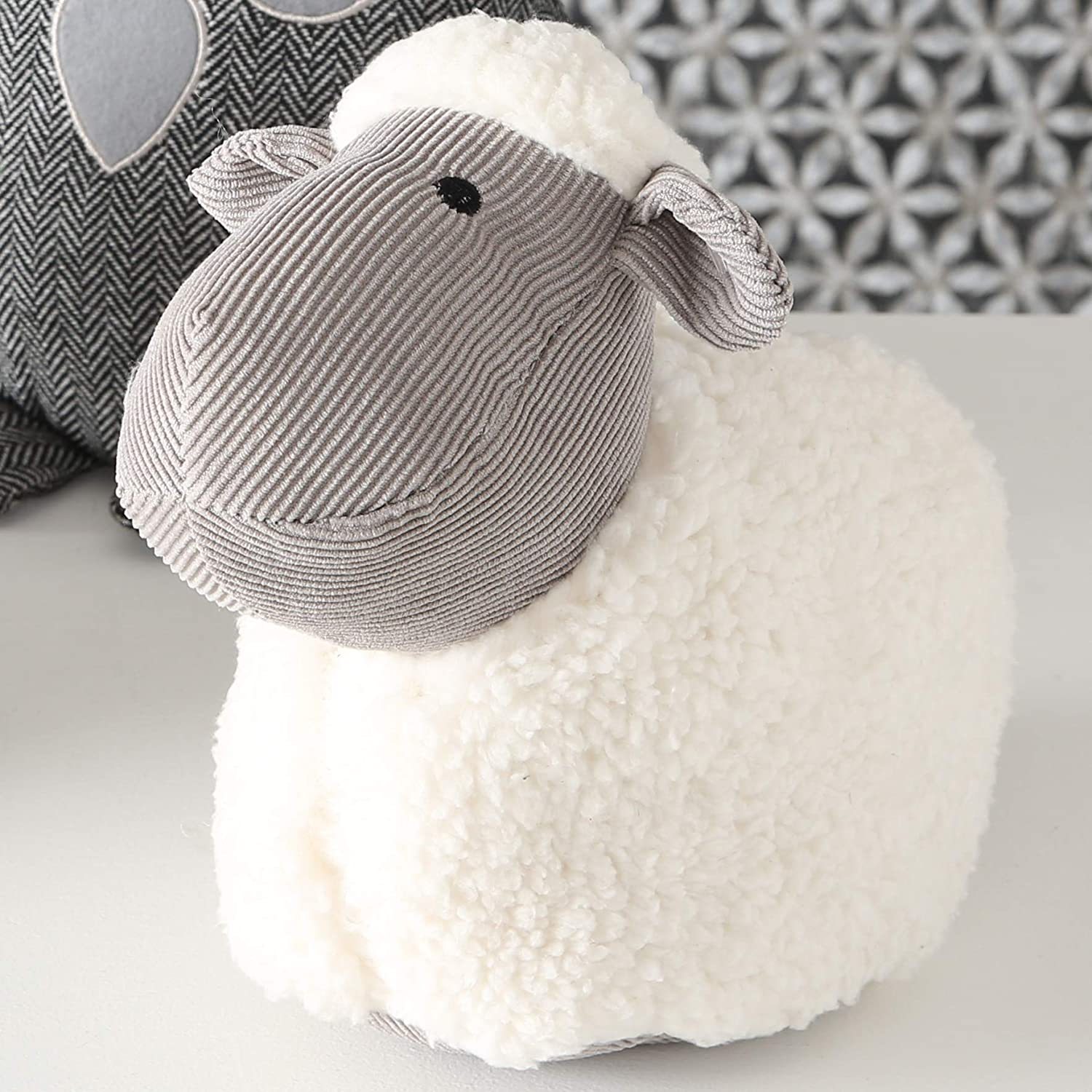 Polyester WHW Whole House Worlds Fluffy Corduroy and Plush Weighted Prop Sand Filling Embroidery Eyes The Baby Lamb Door Stopper Rustic White 8 3//4 Inches Tall 2.3 Pounds