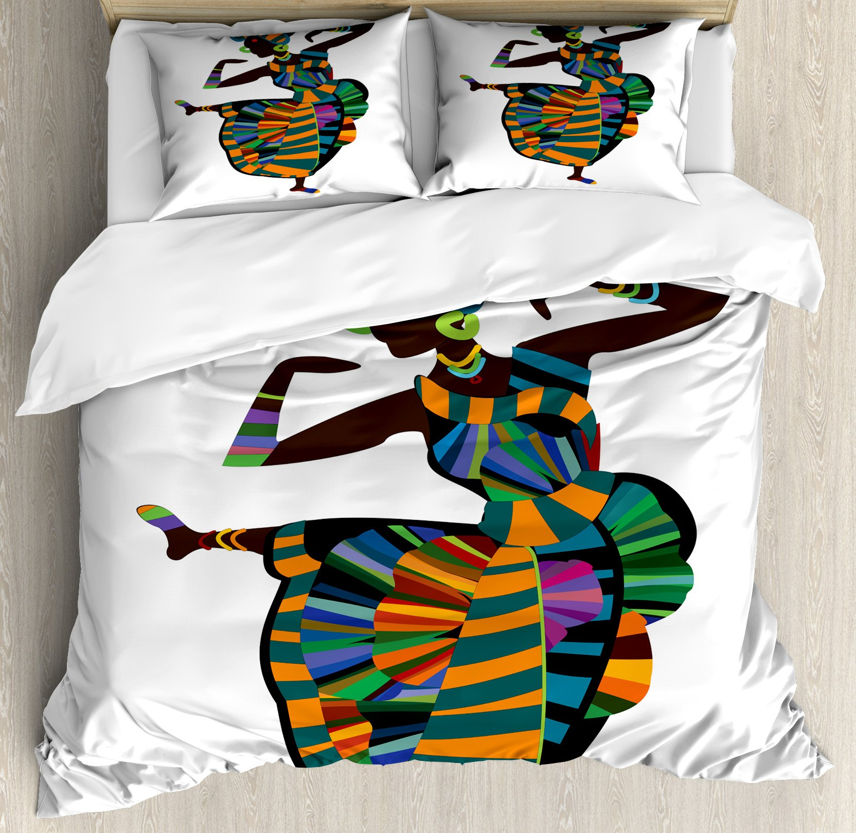 African Woman King Size Duvet Cover Set by Ambesonne, Black Girl in a Traditional Dress Performing an Ethnic Dance Native Zulu, Decorative 3 Piece Bedding Set with 2 Pillow Shams, Multicolor