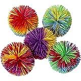 Hibery 5 Pack Monkey Stringy Balls, Soft Active Fun Toy, Sensory Fidgets Toys Rainbow Pom Colorful Bouncy Stress Toy