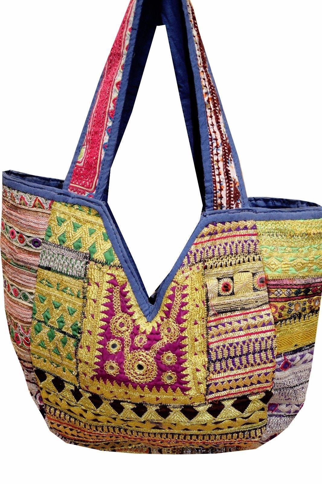 New Womens Embroideried PatchWork Vintage Banjara Big Leather Shopper Bags Hobo Tote Shoulder Bags