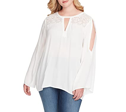 ba4f27cd07828 Jessica Simpson Womens Plus Padma Yoke Cold Shoulder Blouse Ivory 1X