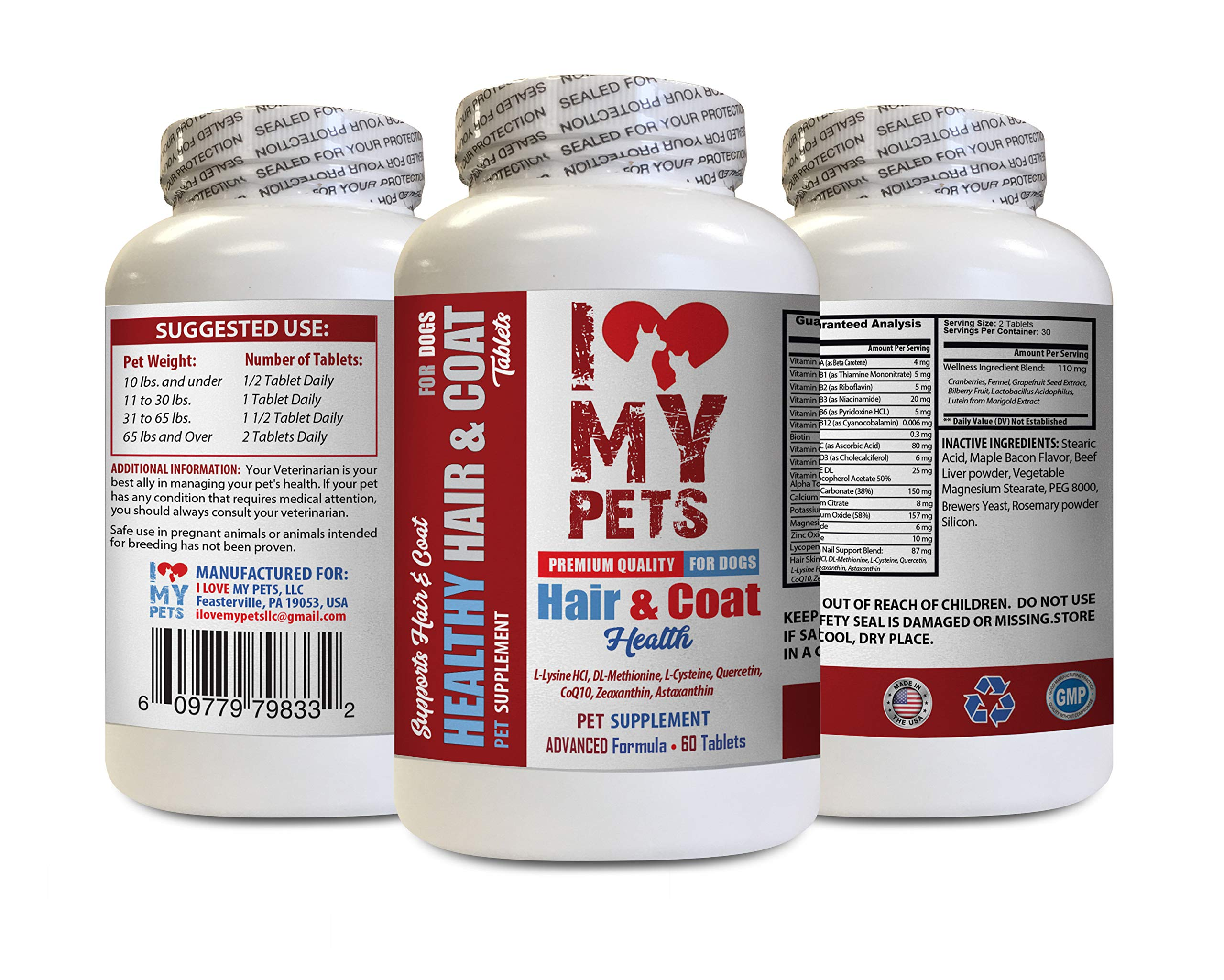 I LOVE MY PETS LLC Dog flakey Skin - Dog Healthy Hair and Coat - Premium Formula - Chews - Dog Vitamin a - 60 Treats (1 Bottle) by I LOVE MY PETS LLC