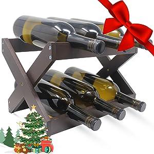 Foldable Bamboo Wine Rack ~ Counter Wooden Wine Bottle Storage ~ Elegant Wine Holder for Kitchen, Bar, Cabinets ~ Holds 6 Bottles (Brown, 1)