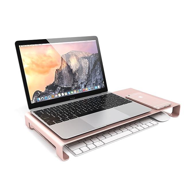 Soporte de Aluminio Universal Compatible con Monitor, Laptop, iMac, PC (Oro Rosa)