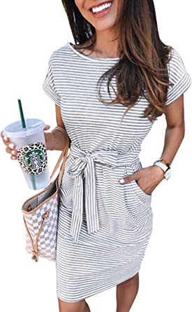 ECOWISH Womens Striped Dress Casual Short Sleeve Party Bodycon Dresses Sheath Belted with Pockets