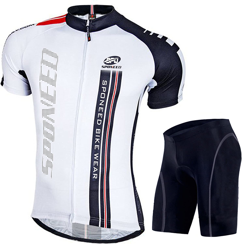 sponeed Men Cycling Outfit Set MTB Bicycle Jersey Road Biker Shorts Trianthlon Cyclwear Shirts : Clothing