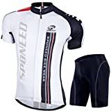 Sponeed Men's Black and White Cycling Jersey Breathbale shorts Gel Padded