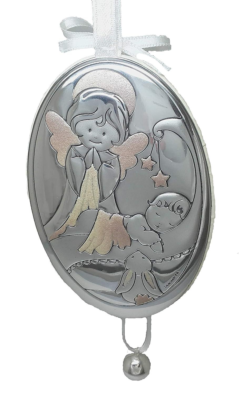 Medallon Angel de la Guarda con ni/ño y cascabel