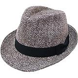 (エクサス)EXAS ヘリンボーン中折れハット(中折れ帽 サイズ調節可能)