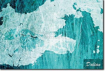 Amazon.com: Introspective Chameleon Dalian, China Original Map ... on