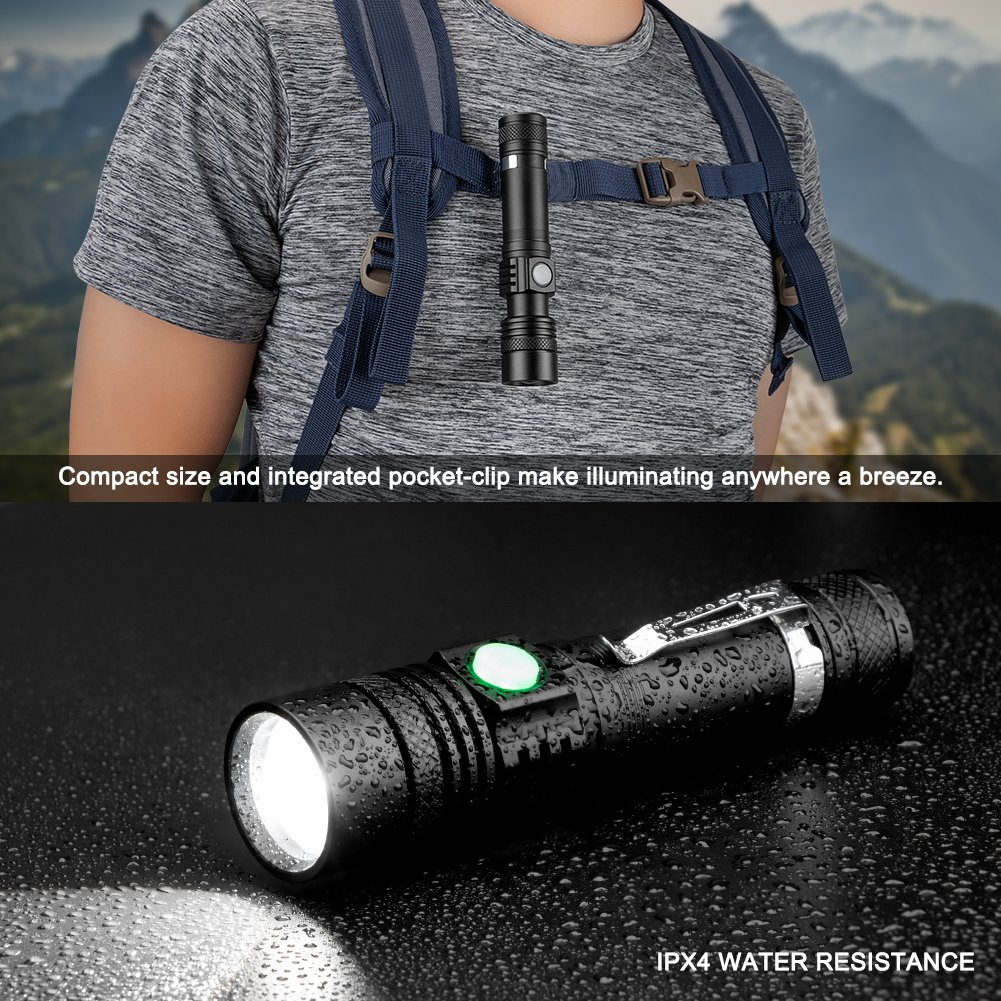 Torche Lampe LED Rechargeable USB, Coquimbo Lampe de Poche 600 Lumens, IP65 Étanche, 4 Modes Eclairage, Lampe de Poche Zoomable pour Ménage, le Camping, La Randonnée, D\'urgence (Batterie Incluse)
