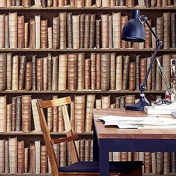 Blooming Wall Vintage Book Shelf Wallpaper Wall Mural In Studyroom