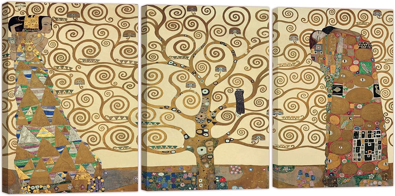 LuxHomeDecor Quado Gustav Klimt - Árbol de la Vida, 120 x 60 cm, 3 Piezas, 60 x 40 cm, impresión sobre Lienzo con Marco de Madera, Arte Decorativo