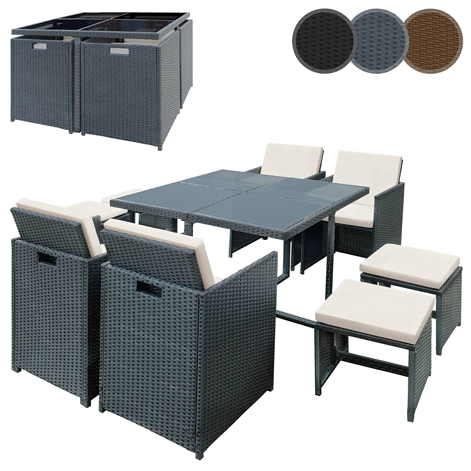 miadomodo polyrattan sitzgruppe sitzgarnitur gartenm bel 9 teilig in der farbe nach ihrer wahl. Black Bedroom Furniture Sets. Home Design Ideas