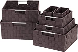 Sorbus Storage Box Woven Basket Bin Container Tote Cube Organizer Set Stackable Storage Basket Woven Strap Shelf Organizer Built-in Carry Handles (7 Piece - Chocolate)