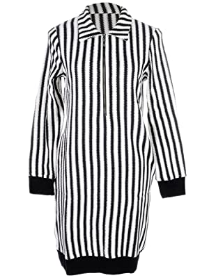 Anna-Kaci S/M Fit White Vertical Stripped Front Zip Black Bordered Dress