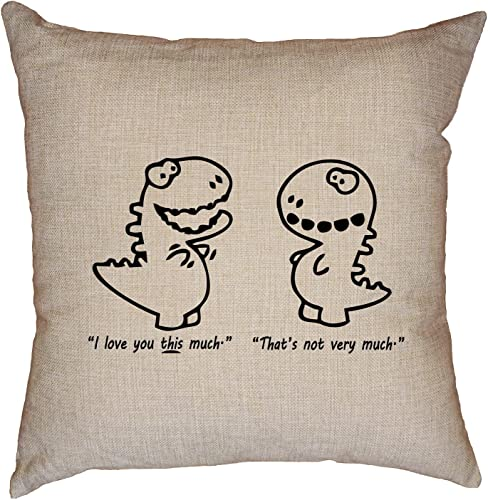 Hollywood Thread T-Rex Small Arms I Love You This Much Sad Face Decorative Linen Throw Cushion Pillow Case with Insert