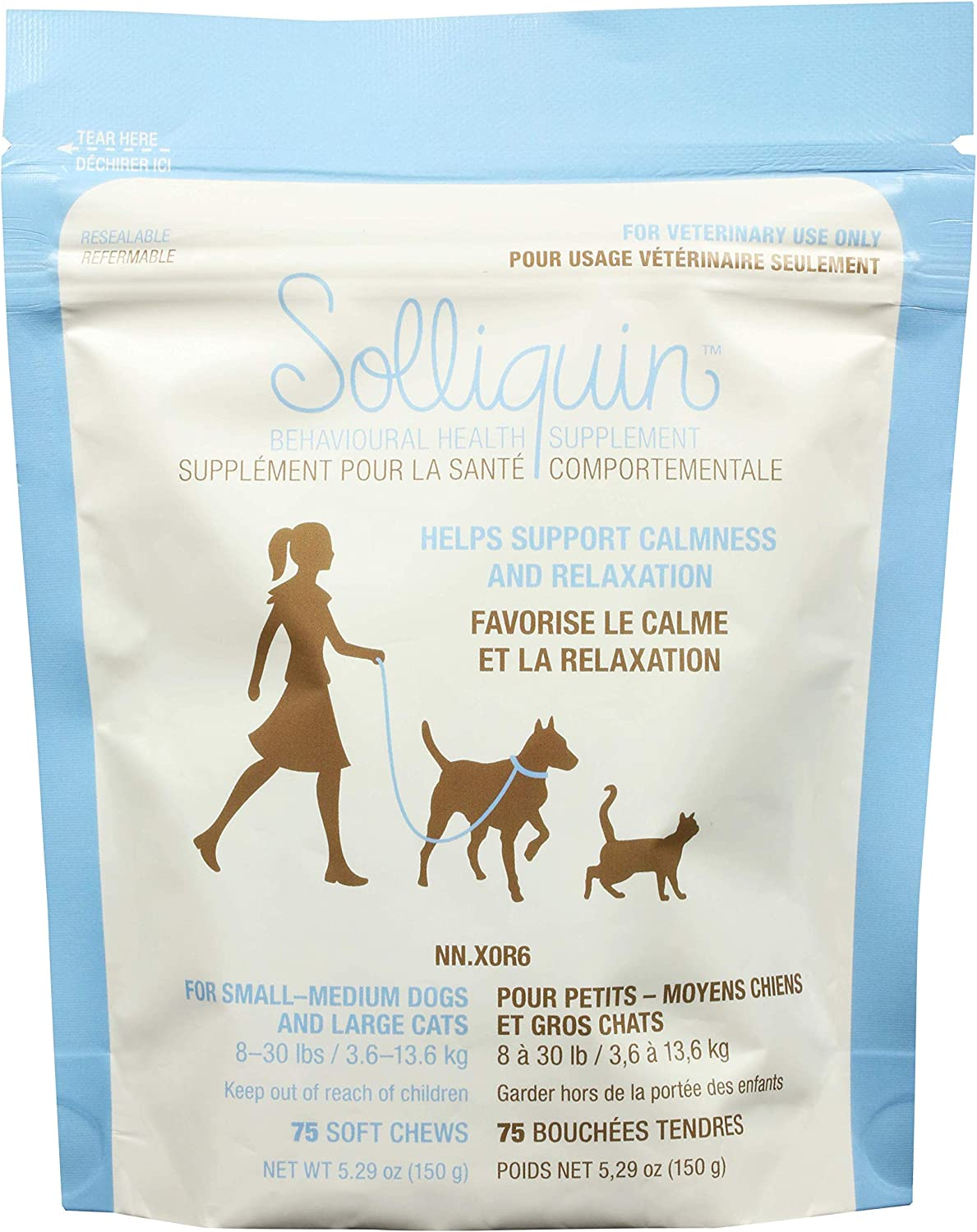 75 ct Soft Chews Solliquin Behavior Supplement for Dogs /& Cats to Help Promote and Maintain Healthy Calm and Relaxed Behavior