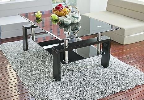Leisure zone - Tavolino da caffè per salotto, in vetro nero, moderno ...