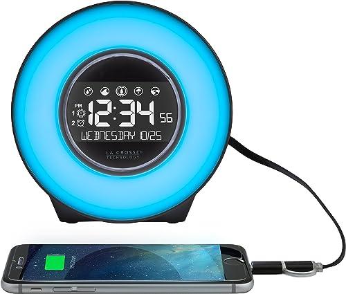 La Crosse Technology C85135 Color Mood Light Alarm Clock with Nature Sounds, White Black