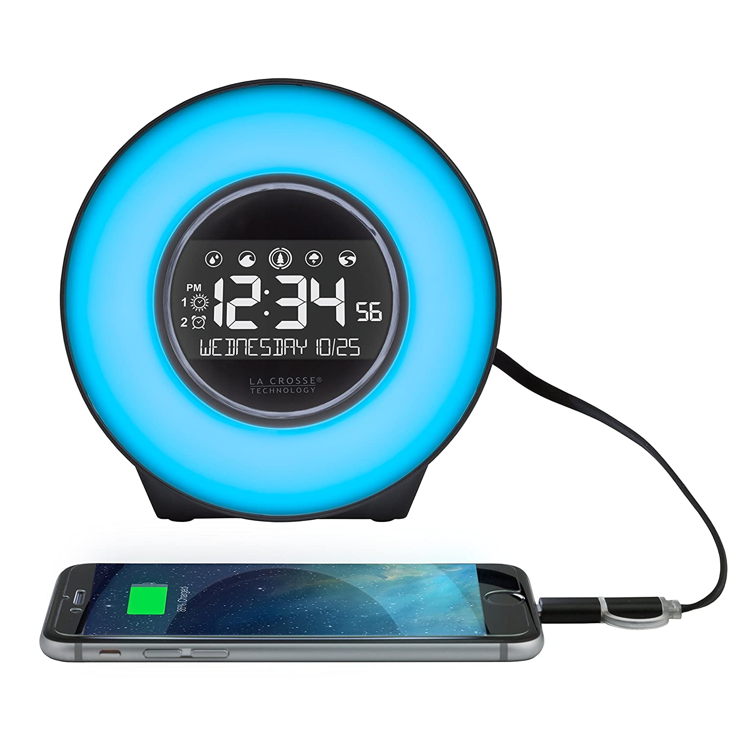 La Crosse Technology C85135 Color Mood Light Alarm Clock with Nature Sounds