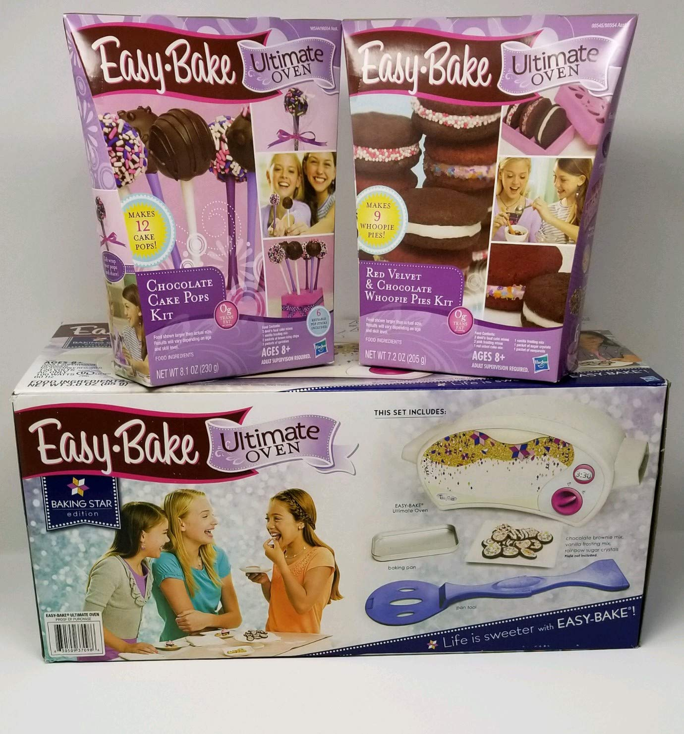 Easy Bake Ultimate Oven Star Edition + Chocolate Cake Pop Kit + Red Velvet and Chocolate Whoopie Pies