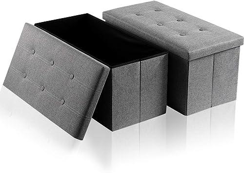 HERNEAT Storage Ottoman Bench 2 Pack Linen Folding Ottoman