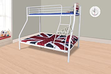Foxhunter New White Metal Triple Children Sleeper Bunk Bed Frame No