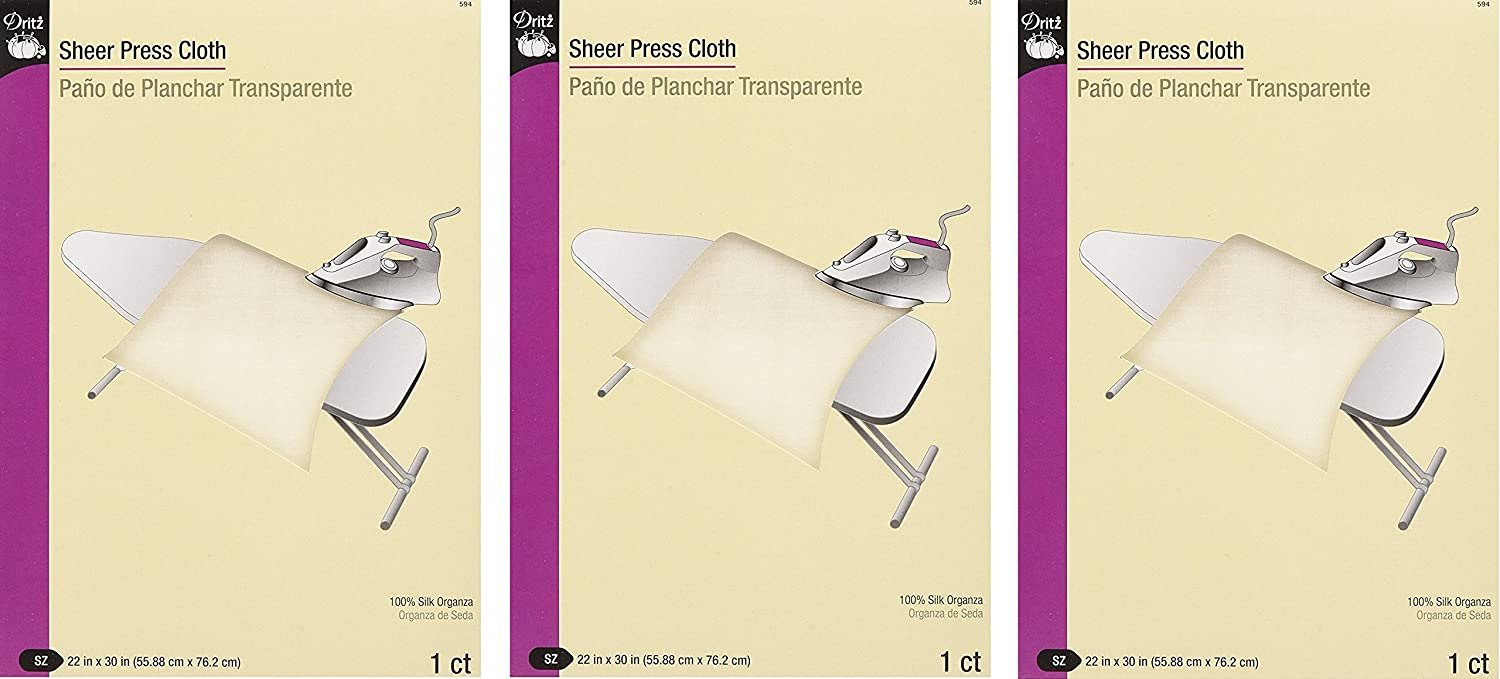 Dritz Sheer Press Cloth, 22 by 30-Inch, 100% silk - 3 Pack
