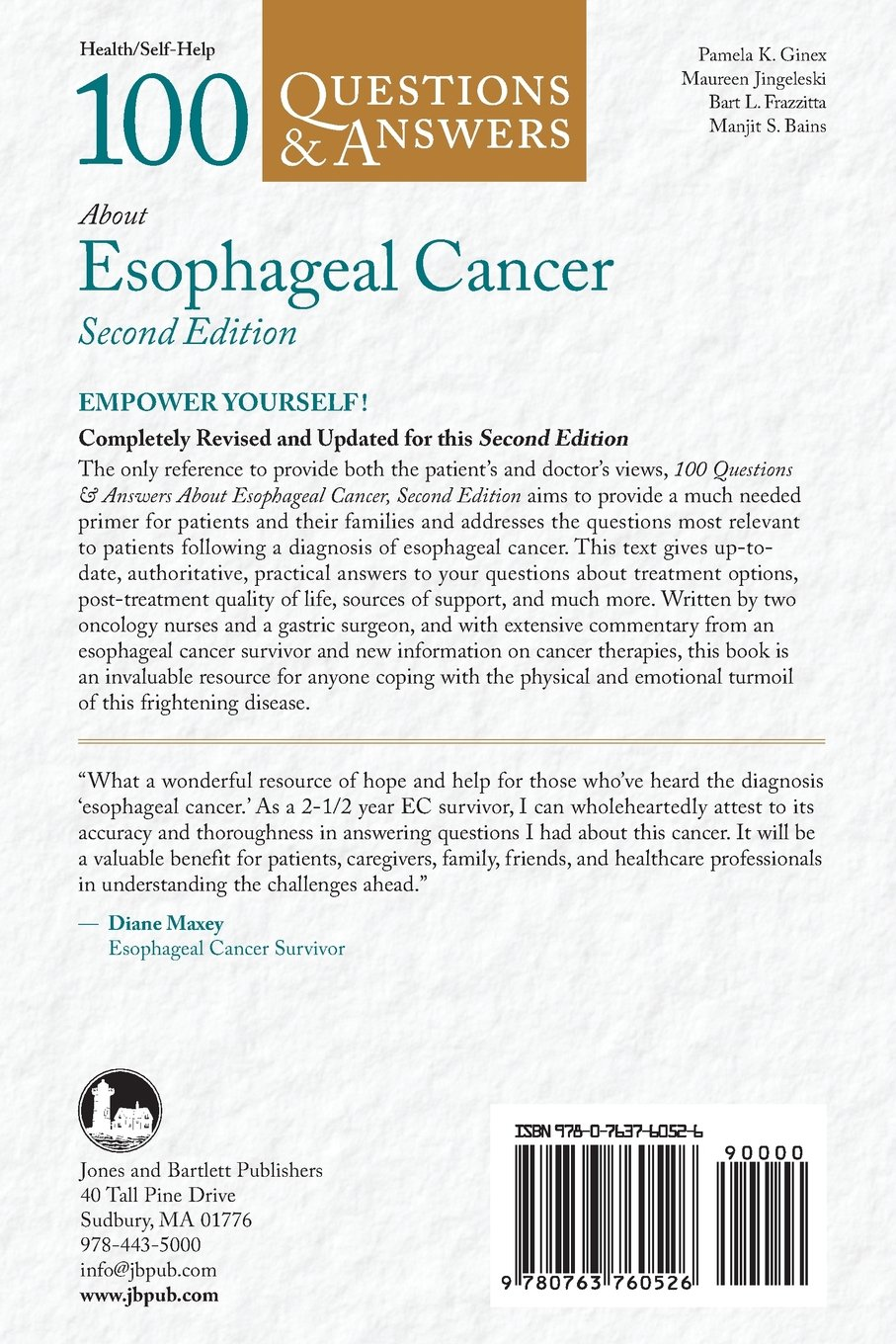100 Q&as About Esophageal Cancer 2e 100 Questions & Answers about:  Amazon.co.uk: Ginex: Books