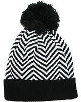 CTM Women's Chevron Pom Cuffed Knit Beanie Hat