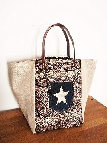 5759b331d8 sac cabas patchwork createur toile de jute/raphia, simili cuir froissé  python/serpent