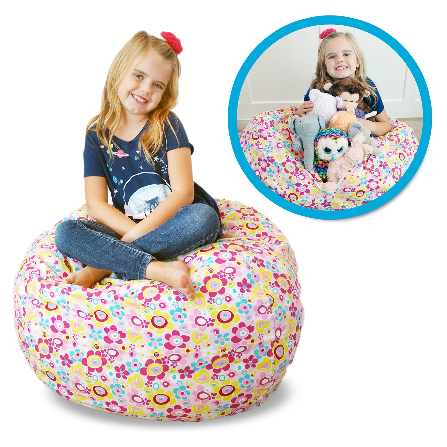 Stuffed Animal Kid Bean Bag Chair - Storage for your Child's Stuffed Animals and Blankets - (27