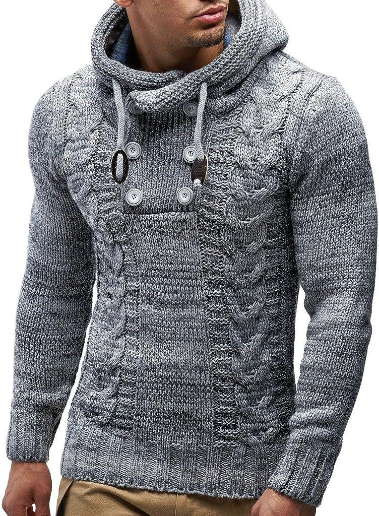 Leif Nelson Los Hombres del Jersey de Punto suéter Encapuchado LN-20227