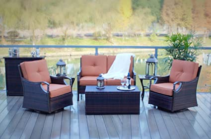 6pc Swivel and Rocking Aluminum and Wicker Deep Seating Patio Set - Amazon.com : 6pc Swivel And Rocking Aluminum And Wicker Deep Seating