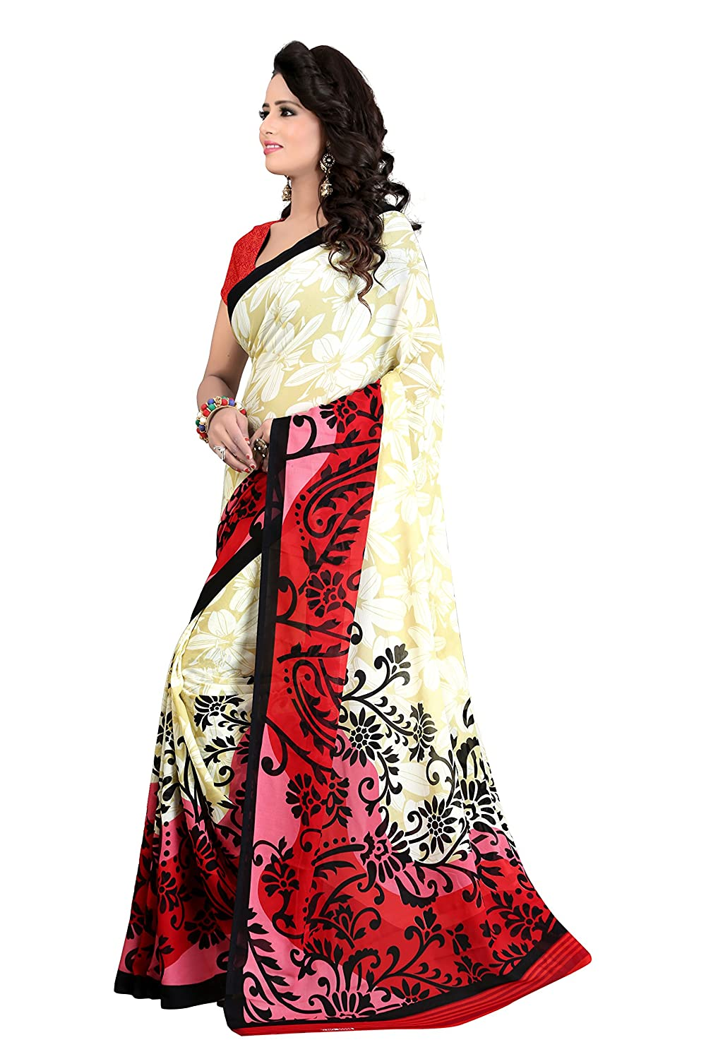 Pavitra Enterprise Women s Georgette Off-White   Red Saree  Amazon.in   Clothing   Accessories 5958b3841e