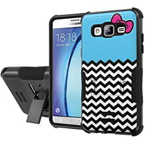 Galaxy [On5] Armor Case [NakedShield] [Black/Black] Urban Shockproof Defender [Kick Stand] - [Ribbon Chevron Blue] for Samsung Galaxy [On5]