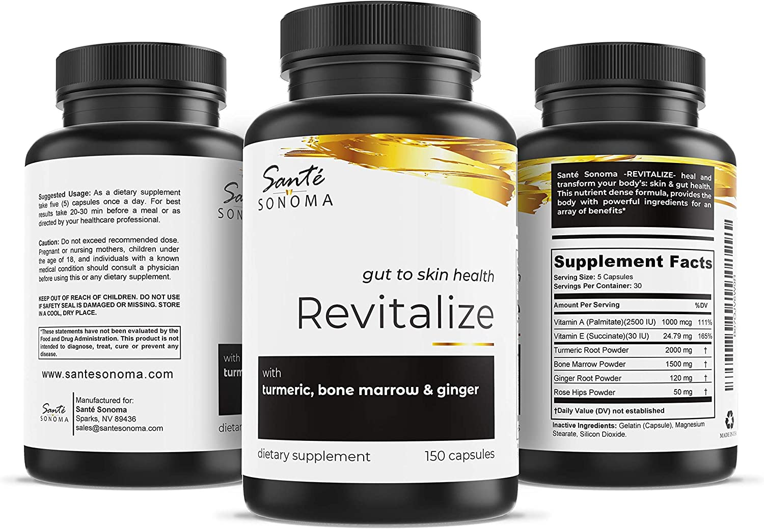 Sant Sonomas Superfood Revitalize Turmeric, Bone Marrow, Ginger, Rose Hips, Vitamin A and E 150 Capsules