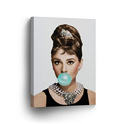 Audrey Hepburn Chewing Gum Canvas Print Home Decor Iconic Wall Art Gallery Wrapped Canvas Art Stretched Ready To Hang 22 X 15